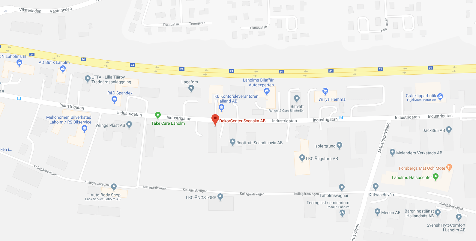 Karta över området runt Dekorcenter Svenska AB i Laholm